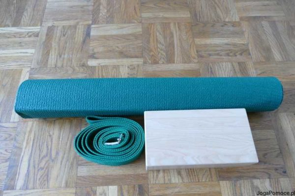 Zestaw do jogi zielony mata, pasek i klocek